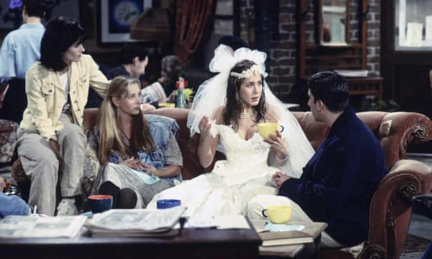 Friends TV series with Courteney Cox as Monica Geller, Lisa Kudrow as Phoebe Buffay, Jennifer Aniston as Rachel Green, David Schwimmer as Ross Geller