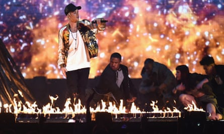 International male solo artist winner Justin Bieber performs at the Brit Awards 2016.