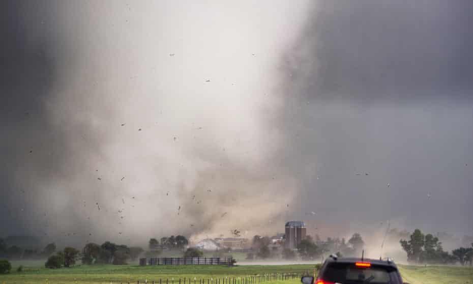 Up in the air: a tornado rips through Tipton, Kansas in 2019.
