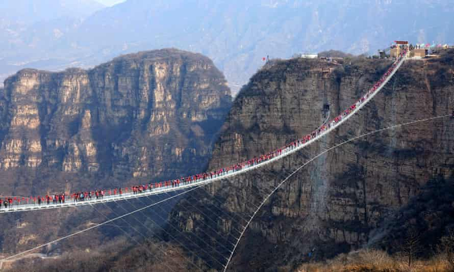 The Hongyagu glass bridge, which stretches 488 metres between two steep cliffs.