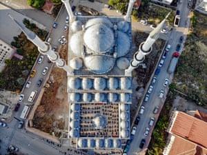 Bilecik, Turkey: An aerial view of Kayiboyu mosque during Eid al-Adha