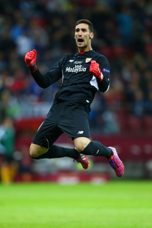 Sevilla goalkeeper Sergio Rico is rather pleased that they're back in the game.