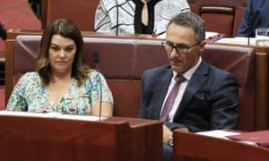 Green senators Richard Di Natale and Sarah Hanson-Young.