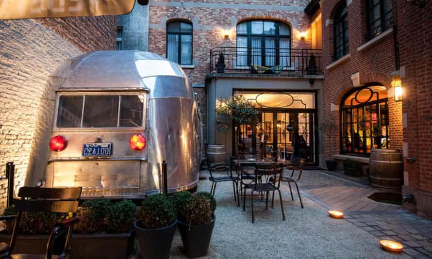 Airstream in courtyard of Brussels Vintage Hotel