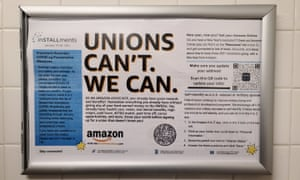 An anti union notice in the company's Amazon warehouse in Bessemer, Alabama.