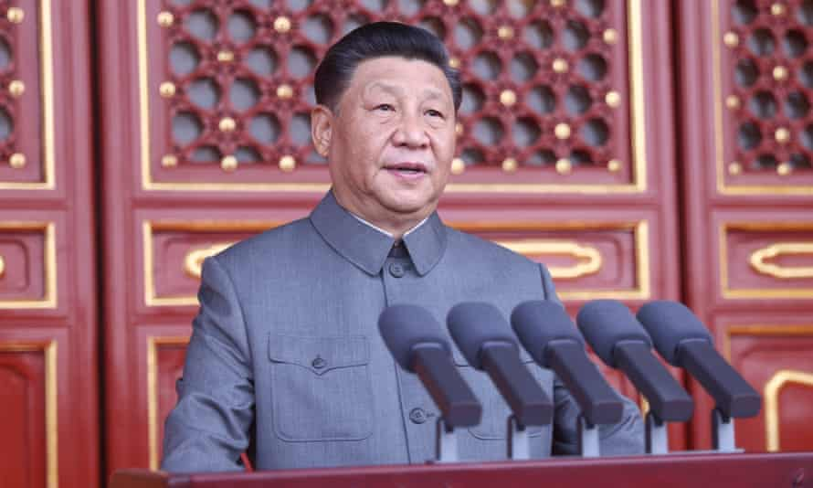 Xi Jinping delivers a speech at a ceremony marking the centenary of the CPC in Beijing