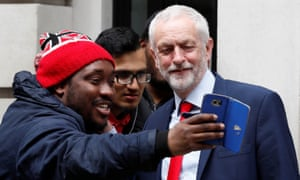 Jeremy Corbyn poses for a selfie outside the BBC radio studios in London, May 2017