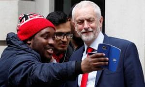 Jeremy Corbyn posing for a selfie in London in 2017