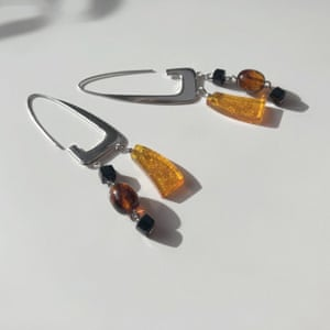 BARJEWELLERYEarrings made from recycled silver and resin made out of waste materials from paper and pulp production. GBP178, barjewellery.com