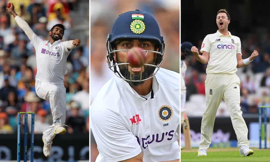 Jasprit Bumrah, Virat Kohli and Ollie Robinson in action.