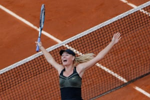 Maria Sharapova of Russia celebrates winning the women's final match against Sara Errani of Italy at the French Open tennis tournament in Roland Garros