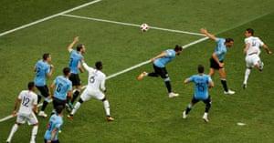 France's Raphael Varane scores.