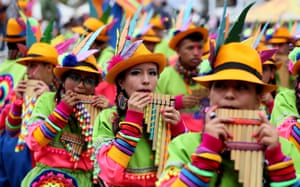 Dancers perform during a parade