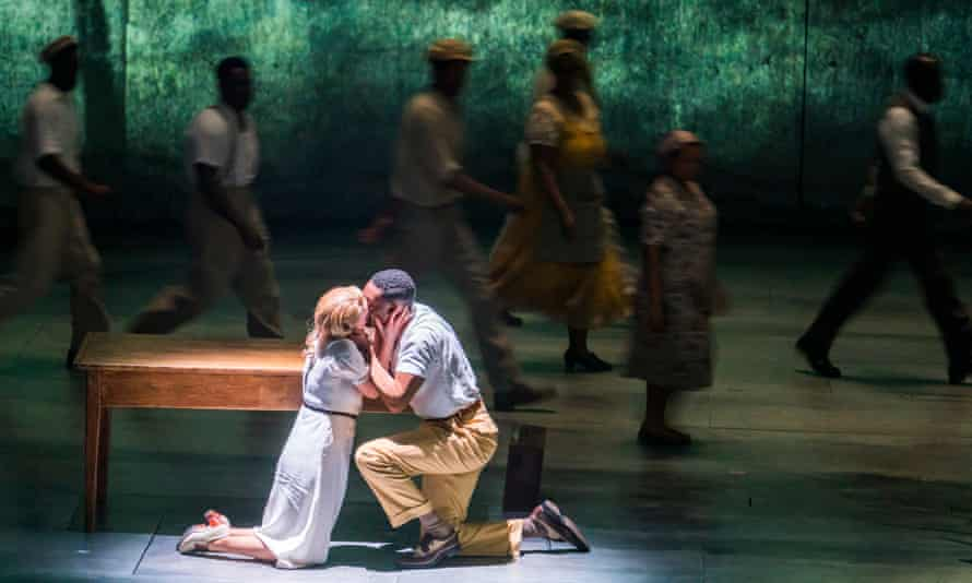 'There were gasps in the audience at some of the insults' … Amy Forrest and CJ Beckford embrace in Small Island.