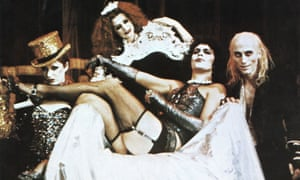 'It was only meant to run for three weeks' … Tim Curry as Dr Frank-N-Furter with O'Brien, right, in 1975's Rocky Horror Picture Show.