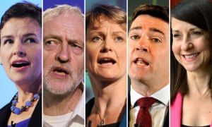 Composite of the candidates for the Labour leadership. Mary Creagh, Jeremy Corbyn, Yvette Cooper, Andy Burnham and Liz Kendall