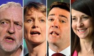 Jeremy Corbyn, Yvette Cooper, Andy Burnham and Liz Kendall
