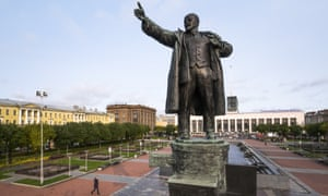 A statue of Vladimir Lenin stands in front of the Finland Railway Station in St Petersburg, Russia.