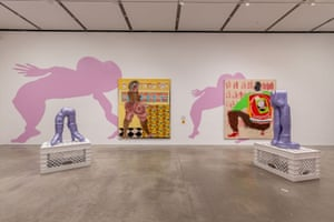 Installation view of Tschabalala Self: Out of Body, Institute of Contemporary Art/Boston, 2020