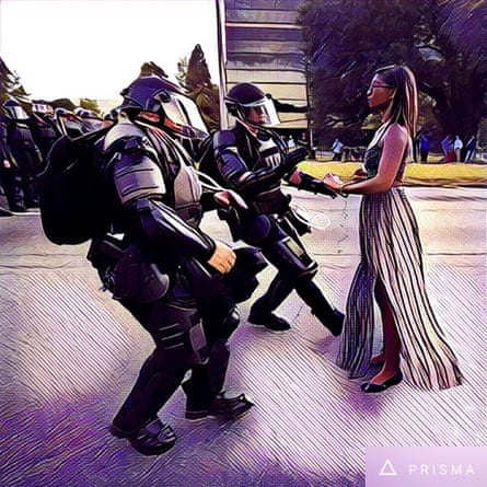An artistic take on the now iconic photo of a demonstrator protesting the shooting death of Alton Sterling in Baton Rouge.