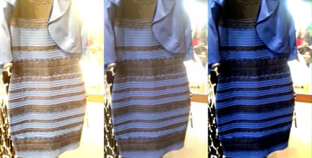 The original dress photo, with colour treatments that may help explain why people see different colours.