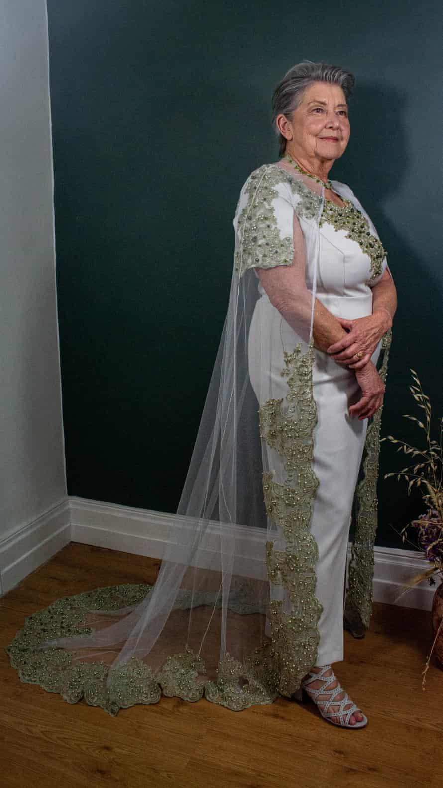 Sylviane Nauroy models a Du Fermoir-de-Monsac dress