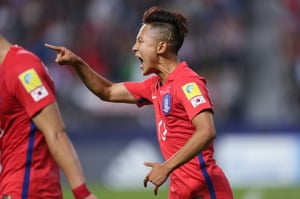Lee Seung-woo celebrates after scoring during the 2017 U-20 World Cup in South Korea.