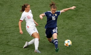 Fran Kirby (left) won a penalty for England against Scotland after her cross hit a wayward arm.
