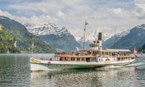 A paddle-wheel steamer on Lake Lucerne, Switzerland.