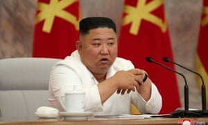 North Korean leader Kim Jong Un guides the 14th enlarged meeting of Political Bureau of 7th Central Committee of WPK in this undated photo released on 2 July 2020 by the North Korean Central News Agency in Pyongyang.