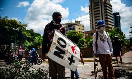Anti-government activists demonstrate against Venezuelan president Nicolás Maduro on 8 August.