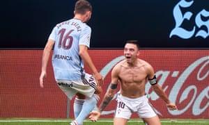 A bare-chested Iago Aspas celebrates his equaliser