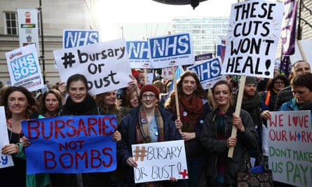 Student nurses and health workers demonstrating against government plans to scrap NHS bursaries earlier this year.