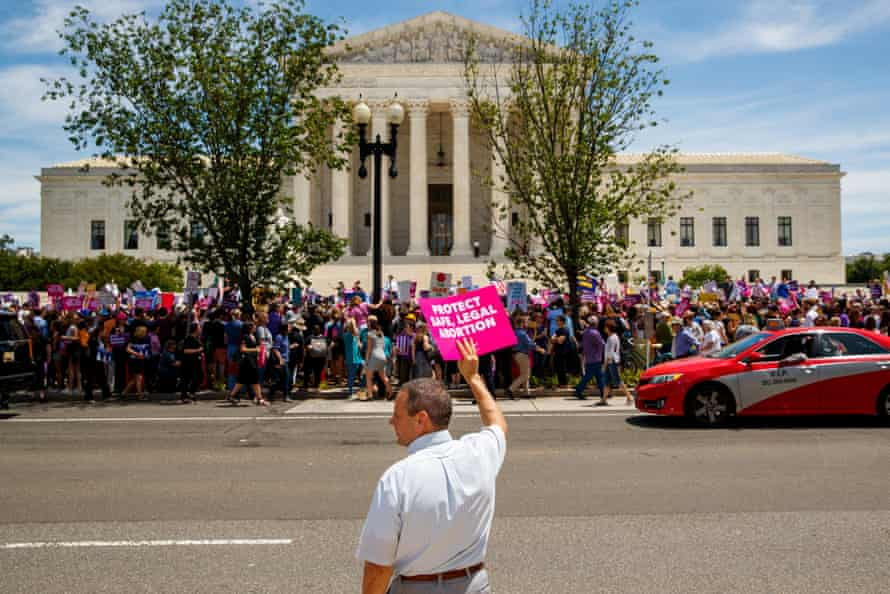 People during a rally calling for abortion rights outside the US supreme court in Washington DC, on 21 May 2019.