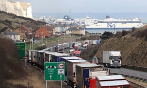 Lorries queue on the A20 to enter the Port of Dover