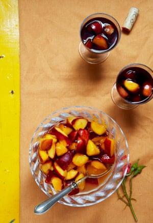 Nectarines in wine