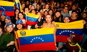 Venezuelans opposed to president Nicolas Maduro hold a demonstration in Guadalajara, Mexico.