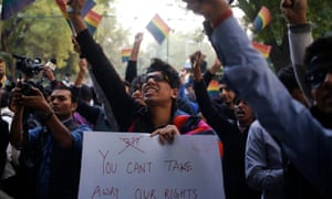 Gay rights activists attend a protest against section 377 of India's penal code in New Delhi
