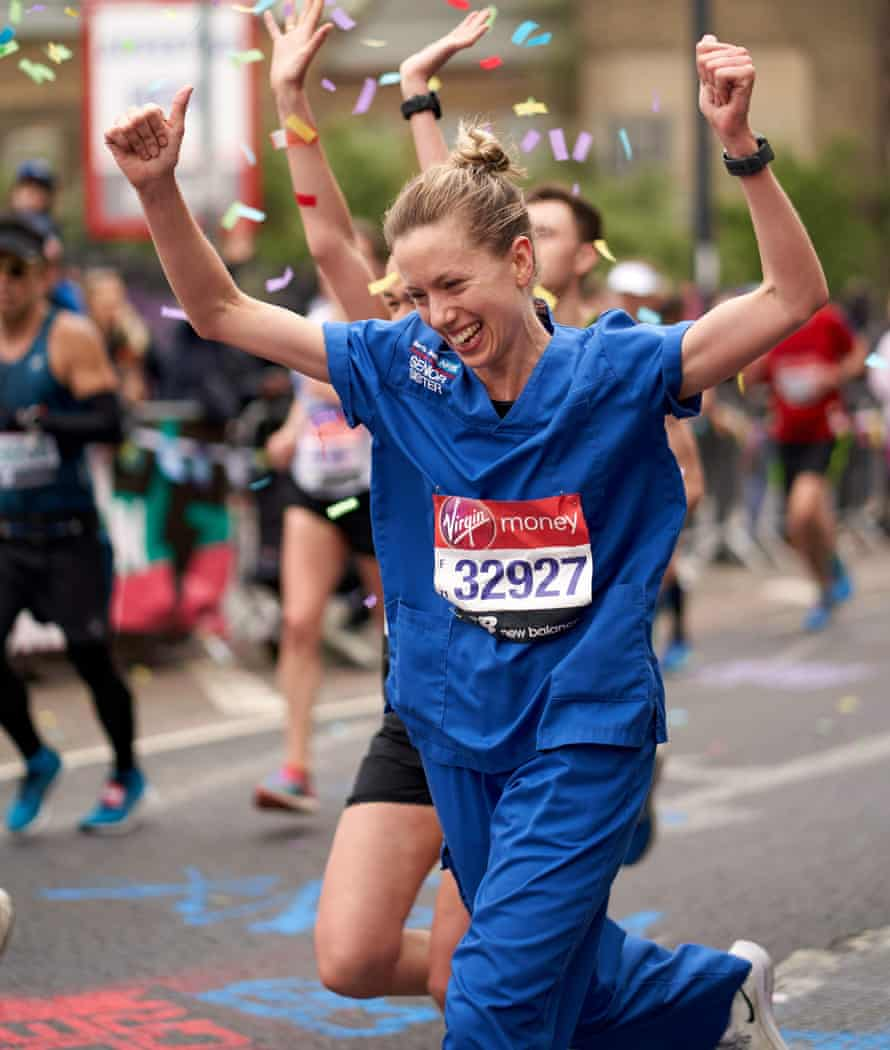 Jessica Anderson, whose 3:08.22 time didn't count as record for running dressed as a nurse, according to Guinness World Records.