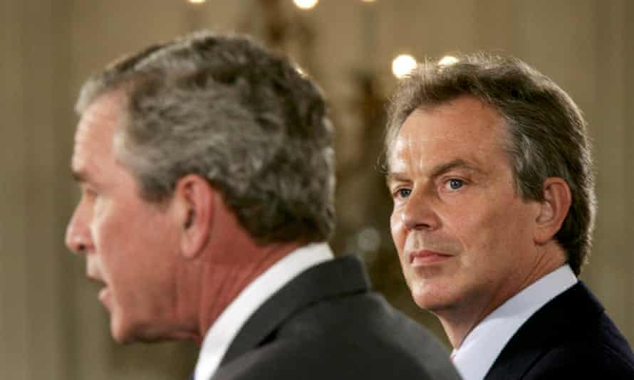 Bush and Blair at a joint press conference in 2005.