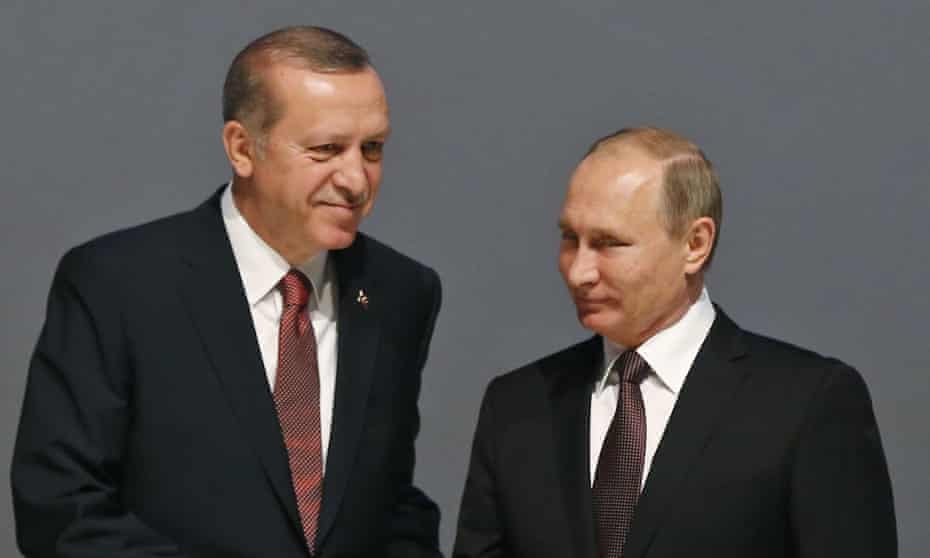 Turkey's president, Recip Tayyip Erdoğan, with his Russian counterpart, Vladimir Putin.