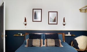 Shining example: a bedroom, with a line of Washi sticky tape creating a gold border at dado-rail height.