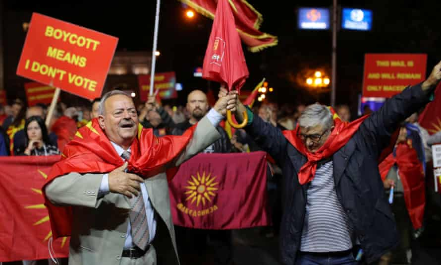 Supporters of the referendum boycott celebrate in Skopje
