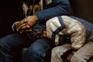 Boy sleeping in subway, 1985