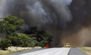 Smoke from the fire closes Kuihelani highway in central Maui.