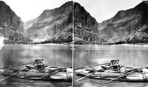 Stereograph showing an armchair boat belonging to Major Powell, a geologist and explorer, on the Colorado River, circa 1872.