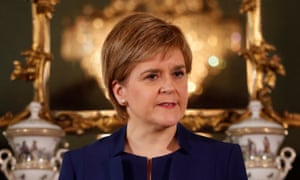 Scotland's first minister, Nicola Sturgeon, holds a post-election press conference in Edinburgh.