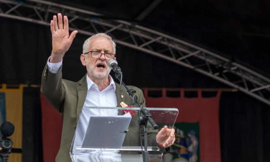 Jeremy Corbyn addresses the Durham Miners' Gala in July 2019.