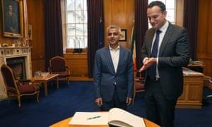 London Mayor Sadiq Khan (left) meeting the Irish taoiseach Leo Varadkar at Government Buildings in Dublin earlier today.