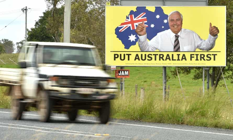 A billboard for Clive Palmer's United Australia Party in Bowen in northern Queensland.